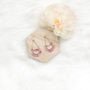 Speckled Pink Chandelier Earrings