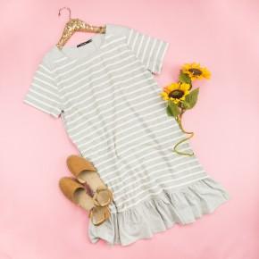 Scallop Striped Dress