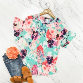 Mint Spring Ruffle Blouse