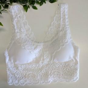 Scoop Neck Lace Bralette WHITE