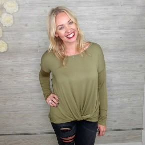 Front Twist Long Sleeve Top OLIVE