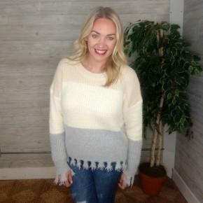 Cozy Colorblock Fringe Sweater