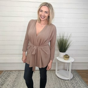 Taupe Tinsel Front Tie Tunic