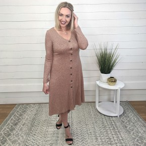 Button Down Skater Heather Brown Dress