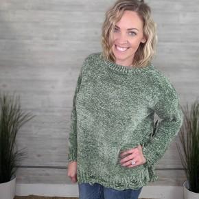 Berkley Olive Distressed Sweater