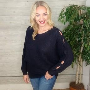 Bethany Blue Braided Sweater