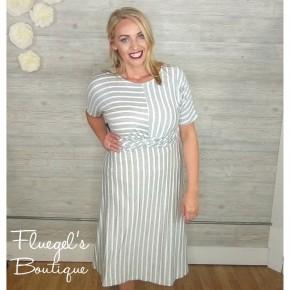 Ally Grey White Stripe Dress *Final Sale*