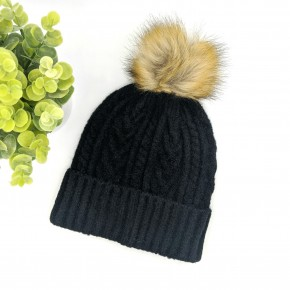 Snap Pom Hat BLACK