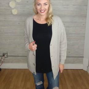 Sally Knit Button Cardi - LT GREY