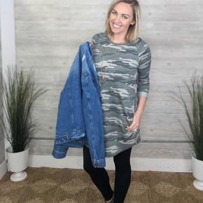 Robin Rolled Sleeve Camo Dress