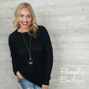 Perfect Fall Day Waffle Sweater BLACK