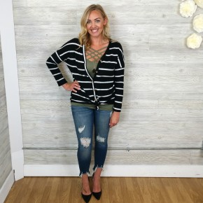 BLK WHITE STRIPPED BUTTON DOWN SWEATER