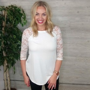 Max Lace 3/4 Sleeve Top -  Ivory