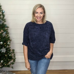 Nadia Navy Ribbed Sweater *Final Sale*