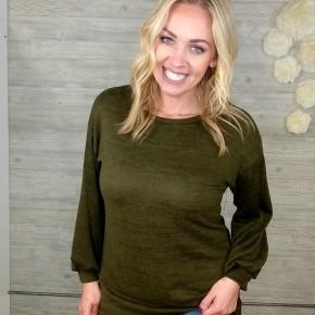 Olive Bubble Sleeve Tunic