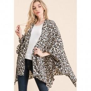 Leopard Open Poncho Cardi