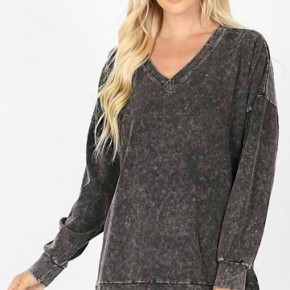 Mineral Washed V-Neck Tunic *Final Sale*