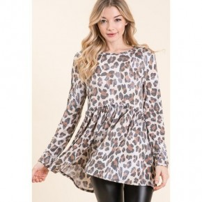 Washed Leopard Baby Doll Tunic