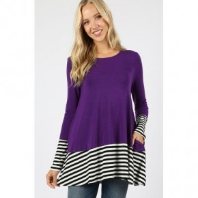 Dark Purple with Black/White stripe trim pocket tunic