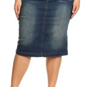 Be~Girl Vintage Wash Midi Denim Skirt