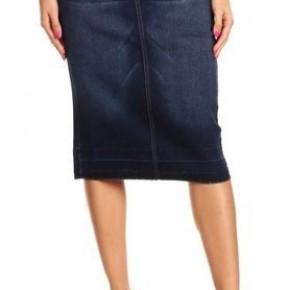 Be-Girl Denim Dark Indigo Midi Skirt - Elastic Waistband