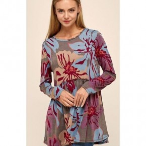 Grey/Wine Floral Baby Doll Tunic
