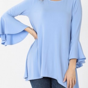 Solid Tunic w/ Bell Sleeve