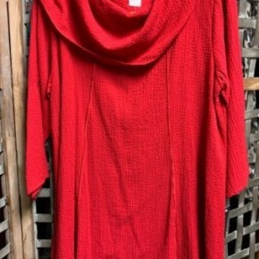 Yushi Red Cowl Neck Top ~ONLY 1 Large left!~ *Final Sale*