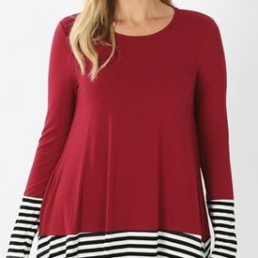 solid Tunic w/Stripe Contrast *Final Sale*