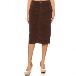 Brown Corduroy Ladies Midi Skirt *Final Sale*
