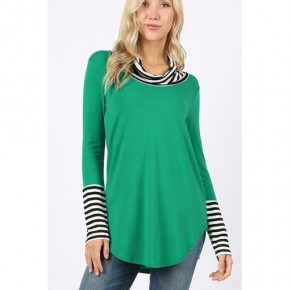 Kelly Green Tunic with Black/White stripe cowl neck