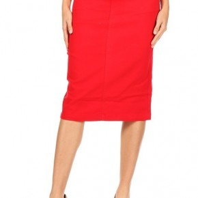 Be-Girl Red Twill Denim Midi Skirt