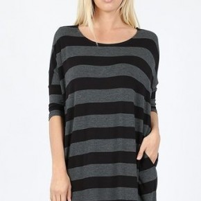 Black/Charcoal Stripe Top *Final Sale*