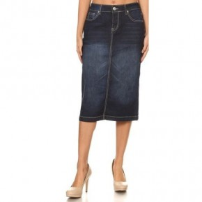 Be-Girl Dark Indigo Denim Midi Skirt