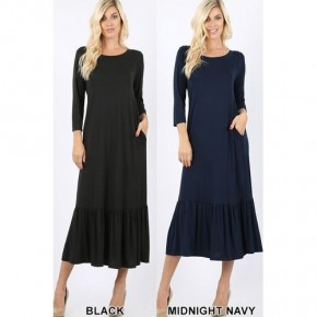 Long Dress with Flounce hem ~ MORE COLORS! *Final Sale*