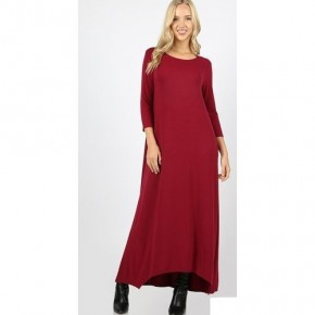Cabernet Solid Maxi Dress