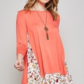Coral Tunic with Floral Contrast