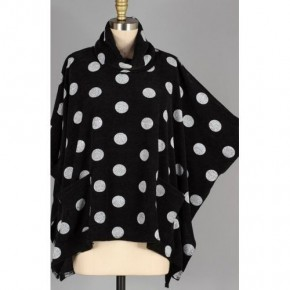 Black/White Dot Pull-over Poncho