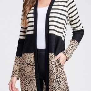 Stripe/Leopard Open Cardi *Final Sale*