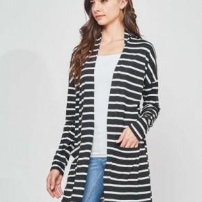 Black/White Stripe Open Cardi