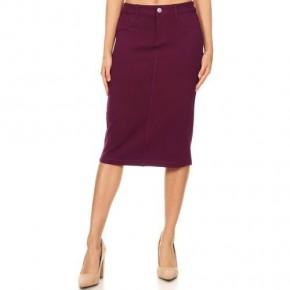 "Be-Girl Burgundy ""Denim"" Look Knit Midi Skirt *Final Sale*"