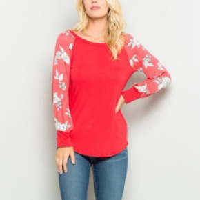 Coral and Floral Long Sleeves Top