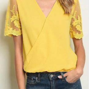 Summer Time Yellow Lace Top