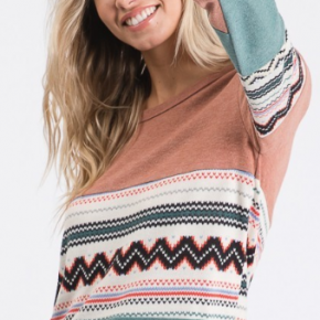 Aztec Color Block Top