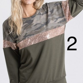 Camo and Shine Top