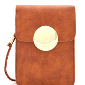 Mini Crossbody Cell Phone Holder in Brown
