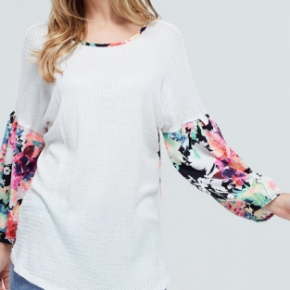 Waffle Floral Top
