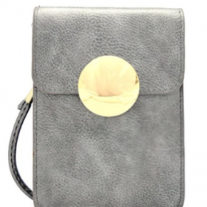 Mini Crossbody Cell Phone Holder in Pewter