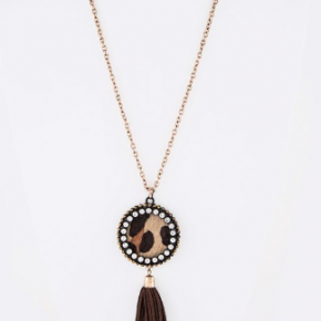 Animal Suede Leather Tassel Long Necklace