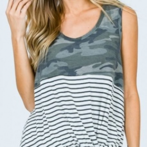 Camo Stripe Knotted Tank